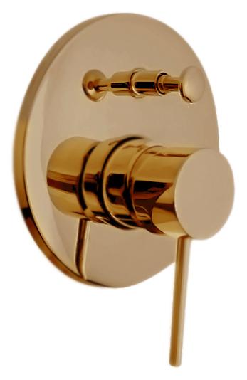 Seina SE986Z золотойСмесители<br>Встраиваемый смеситель для ванны Rav Slezak Seina SE986Z без излива, однорычажный, изготовлен из высококачественной латуни, которая исключает какую-либо коррозию. Металлическая рукоятка. Декоративная латунная крышка диаметром 152 мм. Качественный керамический картридж 40 мм Kerox, производство Венгрия, гарантирует долговечность и мягкий поток воды. Кнопочный переключатель. Подвод воды G1/2. Цена указана за внешнюю и внутреннюю части смесителя и комплект крепления. Все остальное приобретается дополнительно.<br>