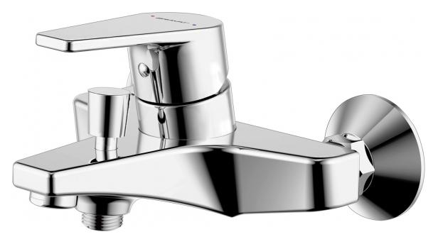 Line F65299C-1 ХромСмесители<br>Смеситель для ванны Bravat Line F65299C-1. Корпус латунь. Ручка цинк. Керамический картридж Kerox 35 мм. Кнопочный переключатель. Аэратор Neoperl. Поток воды 20 л/мин при давлении 0.3 MPa.<br>
