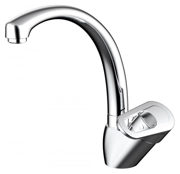 Loop F7124182CP-RUS ХромСмесители<br>Смеситель для кухни Bravat Loop F7124182CP-RUS. Корпус латунный. Ручка цинковая. Керамический картридж Sedal 40 мм. Гибкая подводка 450 мм M10-G1/2 SS 2 шт. Аэратор Neoperl. Поток воды 8,3 л/мин при давлении 0.3 MPa.<br>