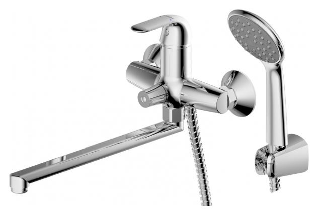 Simple F6135193CP-LB-RUS ХромСмесители<br>Смеситель для ванны Bravat Simple F6135193CP-LB-RUS. Корпус латунь. Ручка цинк. Керамический картридж Sedal 35 мм. Керамический переключатель. Аэратор Neoperl. 1-функциональная душевая лейка из ABS-пластика. Шланг 1500 мм PVC. Поток воды: излив 15 л/мин; душ 8 л/мин при давлении 0.3 MPa.<br>