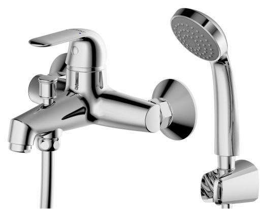 Simple F6135193CP-B-RUS ХромСмесители<br>Смеситель для ванны Bravat Simple F6135193CP-B-RUS. Корпус латунь. Ручка цинк. Керамический картридж Sedal 35 мм. Кнопочный переключатель. Аэратор Neoperl. 1-функциональная душевая лейка из ABS-пластика. Шланг 1500 мм PVC. Поток воды: излив 20 л/мин; душ 12 л/мин при давлении 0.3 MPa.<br>