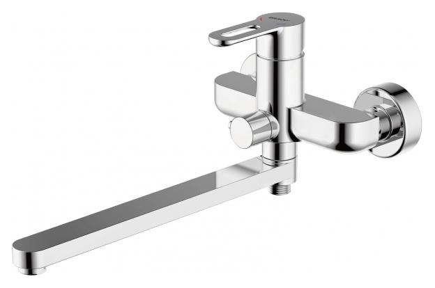 Stream-D F637163C-LB ХромСмесители<br>Смеситель для ванны Bravat Stream-D F637163C-LB. Корпус латунь. Ручка цинк. Керамический картридж Kerox 35 мм. Керамический переключатель. Аэратор Neoperl. 1-функциональная душевая лейка из ABS-пластика. Шланг 1500 мм PVC. Поток воды 15 л/мин при давлении 0.3 MPa.<br>