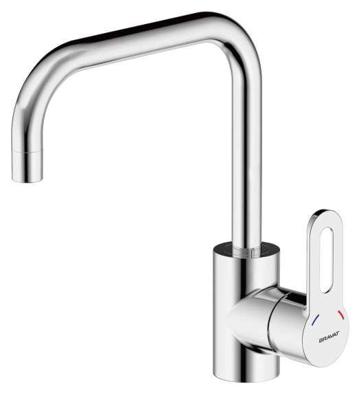 Stream-D F737163C ХромСмесители<br>Смеситель для кухни Bravat Stream-D F737163C. Корпус латунь. Ручка цинк. Керамический картридж Kerox 35 мм. Гибкая подводка 450 мм M10-G1/2 SS 2 шт. Аэратор Neoperl. Поток воды 12 л/мин при давлении 0.3 MPa.<br>