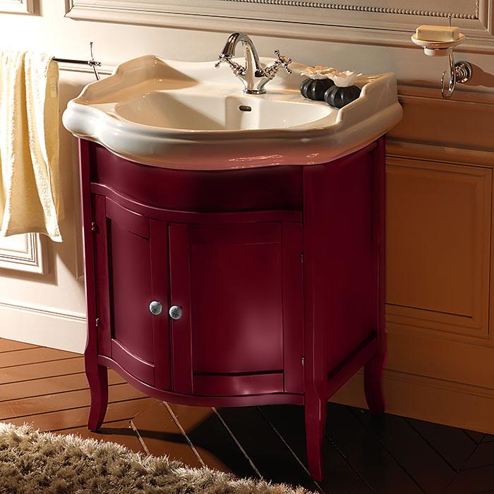 Retro 7349 BordoМебель для ванной<br>Тумба Kerasan Retro 7349 с раковиной в комплекте, ручки изготовлены  из керамики, цвет - Bordo<br>