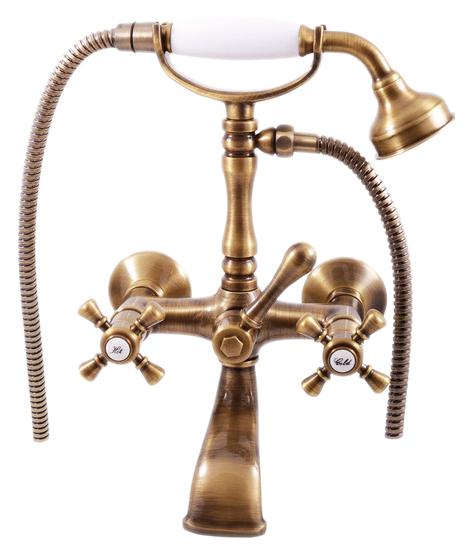 Morava retro MK360.5/2SM золотойСмесители<br>Смеситель для ванны Rav Slezak Morava retro MK360.5/2Z монолитный, с душевым гарнитуром. Латунные рукоятки. Качественные керамические кран буксы, гарантируют долговечность и мягкий поток воды, производство Германия. Шланг металлический с двойной оплеткой, длиной 1500 мм. Латунная душевая лейка с керамической ручкой. В комплекте смеситель, шланг, душевая лейка, держатель для лейки и комплект крепления.<br>