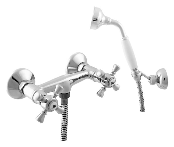 Morava retro MK380.5/2 хром с золотомСмесители<br>Смеситель для душа Rav Slezak Morava retro MK380.5/2CZ монолитный, с душевым гарнитуром. Латунные рукоятки. Качественные керамические кран буксы, гарантируют долговечность и мягкий поток воды, производство Германия. Металлический шланг с двойной оплеткой, длиной 1500 мм. Латунная душевая лейка с керамической ручкой. Настенный держатель для лейки с возможностью менять угол наклона. В комплекте смеситель, шланг, душевая лейка, держатель для лейки и комплект крепления.<br>