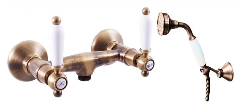Morava retro MK580.5/2SM хром с золотом, с ручками МК5Смесители<br>Смеситель для душа Rav Slezak Morava retro MK580.5/2CZ монолитный, с душевым гарнитуром. Латунные рукоятки. Качественные керамические кран буксы, гарантируют долговечность и мягкий поток воды, производство Германия. Металлический шланг с двойной оплеткой, длиной 1500 мм. Латунная душевая лейка с керамической ручкой. Настенный держатель для лейки с возможностью менять угол наклона. В комплекте смеситель, шланг, душевая лейка, держатель для лейки и комплект крепления.<br>