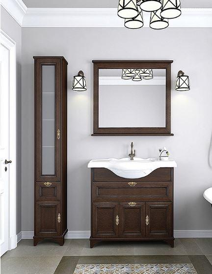 Идель 85 Дуб шоколадныйМебель для ванной<br>Тумба под раковину  напольная Акватон Идель 1A195601IDM80 с дверками, ящиками, механизмом доводчика. Стоимость указана только за тумбу. Шкаф-пенал, зеркало и раковина приобретаются отдельно.<br>