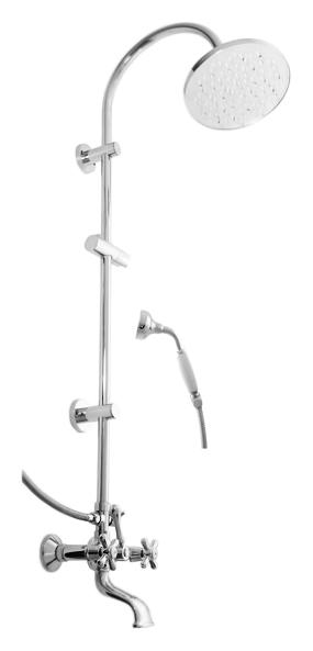 Morava retro MK159.5/3K бронзовый, с ручками МК4Душевые системы<br>Душевая система Rav Slezak Morava retro MK459.5/3SM. Двухвентильный смеситель, монолитный, с изливом. Качественные керамические кран буксы, гарантируют долговечность и мягкий поток воды, производство Германия. Подвод воды G1/2. Керамический переключатель верхний/ручной душ. Круглая металлическая верхняя душевая лейка 200 мм, с одним режимом. Металлический ручной душ с керамической ручкой, с одним режимом. Держатель для лейки с меняющимся углом наклона. Металлический душевой шланг с двойной оплеткой, длиной 1500 мм. В комплекте смеситель, штанга, верхний душ, ручной душ, держатель ручного душа, шланг и комплект крепления.<br>