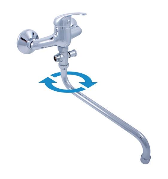 Sazava SA056.5 ХромСмесители<br>Смеситель Rav Slezak Sazava SA056.5 комбинированный для ванны и умывальника с автоматическим переключателем и круглым изливом. Аэратор Neoperl. KA3502E керамический катридж 35мм.<br>