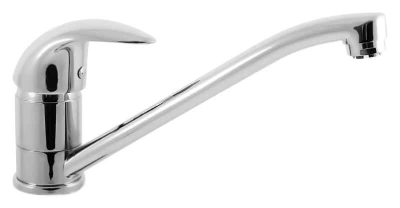 E405.5 хромСмесители<br>Кухонный смеситель для бойлеров с низким давлением Rav Slezak E405.5 однорычажный, с аэратором, изготовлен из высококачественной латуни, которая исключает какую-либо коррозию. Поворотный излив длиной 235 мм. Металлическая рукоятка. Качественный керамический картридж 40 мм. Гибкие подсоединительные шланги. Гибкая подводка G1/2, длиной 350 мм. В комплекте смеситель, гибкая подводка и крепления.<br>