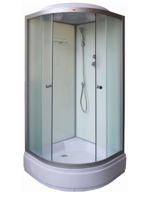 TМ90 БелаяДушевые кабины<br>Душевая кабина Parly TМ90 с крышей, форма четверть круга, с большим внутренним объемом, средний поддон высотой 26 см. В комплекте: ручной душ, тропический душ, полочка, практичный современный смеситель. Толщина стекла 4мм.<br>