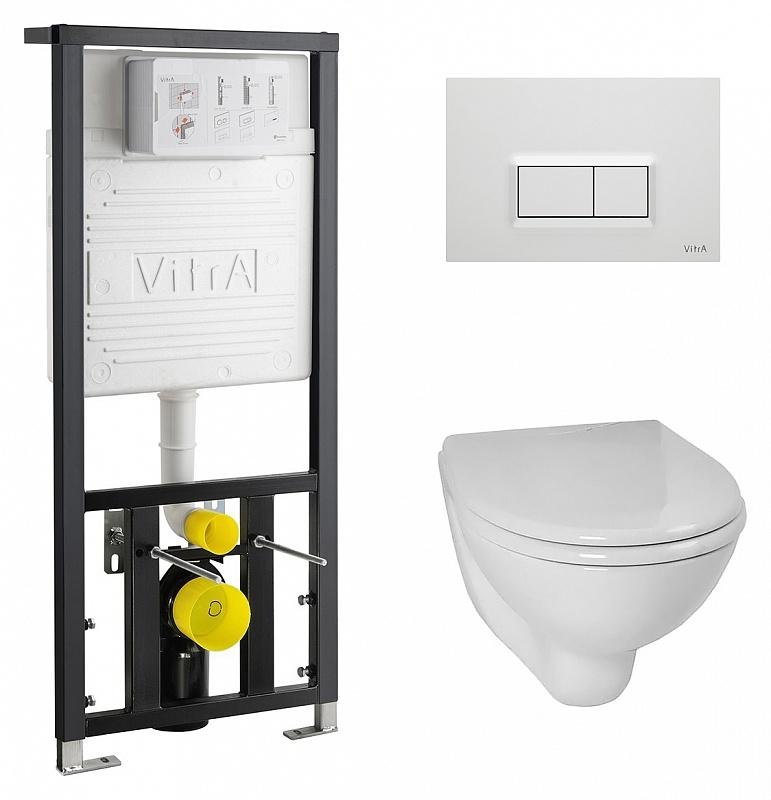 Комплект унитаза с инсталляцией Vitra Arkitekt 9005B003-7210 с сиденьем и кнопкой смыва Белая