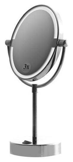 112101622 ХромАксессуары для ванной<br>Косметическое зеркало Bemeta 112101622 настольное с подсветкой. Монтаж настольный. Ширина 22,5 см. Высота 35,5 см. Глубина 36,6 см. Диаметр 12 см. Цвет хром. Фактура глянцевая.<br>