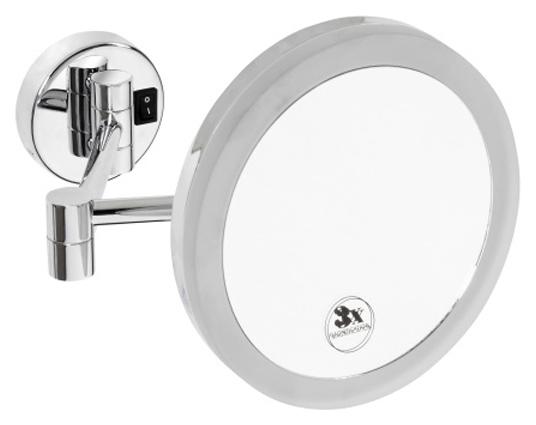 112102682 ХромАксессуары для ванной<br>Косметическое зеркало Bemeta 112102682 с подсветкой. Монтаж настольный. Ширина 20 см. Высота 20 см. Глубина 43 см. Цвет хром. Фактура глянцевая.<br>