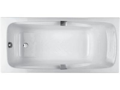 Jacob Delafon Repos 180 BasicВанны<br>Чугунная ванна с гидромассажем Jacob Delafon Repos 180 без слива перелива. В комплект входят 4 ножки и 2 ручки.<br>Комплектация Basic: гидромассаж 6 форсунок, пневматическая кнопка включения, механический регулятор мощности гидромассажа, защита насоса от перегрева.<br>