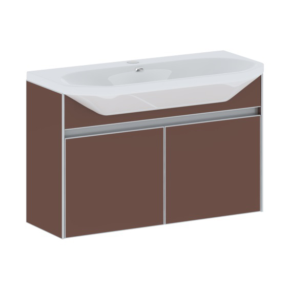 Stilus 110 подвесная Черная (матовое стекло)Мебель для ванной<br>Тумба подвесная Gemelli Stilus укомплектованная раковиной Fusion. Все комплектующие приобретаются отдельно.<br>