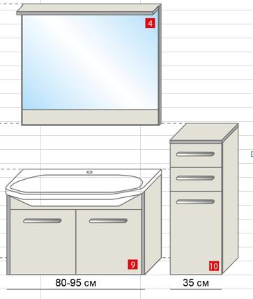 Life 95 подвесная СалатоваяМебель для ванной<br>Тумба подвесная, укомплектованная раковиной Fusion. Все комплектующие приобретаются отдельно.<br>