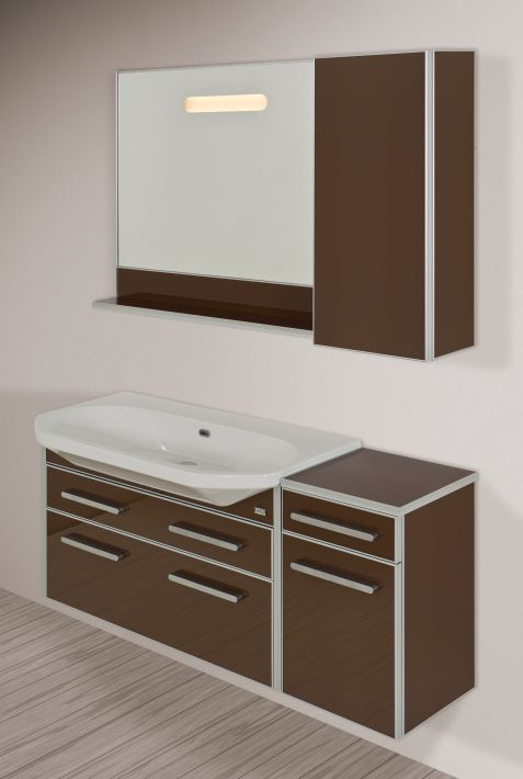 Life-Estra 95 подвесная Сиреневая (матовое стекло)Мебель для ванной<br>Тумба подвесная Gemelli Life укомплектованная раковиной Fusion. Все комплектующие приобретаются отдельно.<br>