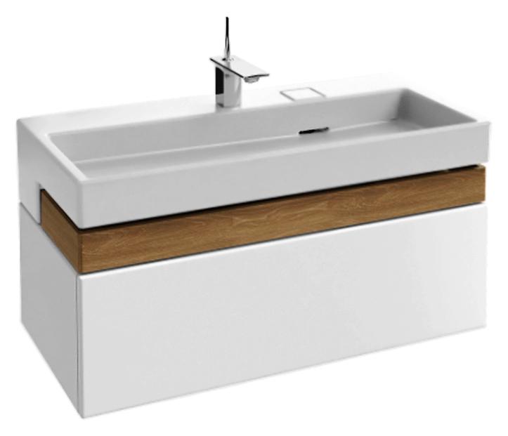 Terrace 100 EB1187-G1C белая глянцевая с деревянным ящичкомМебель для ванной<br>Подвесная тумба под раковину Jacob Delafon Terrace 100 EB1187-G1C с одним выдвижным ящиком на механизме доводчика, с мягким и тихим ходом, и с одним ящичком для аксессуаров из цельного дерева. Глянцевая отделка полиуретановым лаком высокого качества, характеризуется высокой устойчивостью к выцветанию. Лакированная поверхность требует проявления осторожности, во избежания механических повреждений, особенно в уборке. Раковина оснащена инновационной системой слива FreeDrain, которая управляется с помощью простого прикосновения к пластине. Вы можете выбрать раковину с подсветкой или без нее. Цена указана за тумбу. Раковина и все остальное приобретается дополнительно.<br>