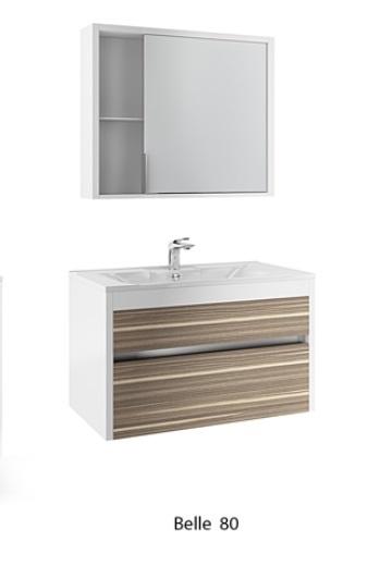 Belle 80 Белая с макассаромМебель для ванной<br>Тумба под раковину Edelform Belle 80. Верхний выдвижной ящик Edelform с органайзером. Дверцы и ящики со встроенными доводчиками. Цена указана только за тумбу, раковина, зеркало и шкаф-пенал приобретаются отдельно.<br>