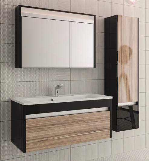 Carino 100 Черная с эбониМебель для ванной<br>Тумба под раковину Edelform Carino 100. Покрытие корпуса и фасадов: глянцевый лак. Дверцы и ящики со встроенными доводчиками.<br>