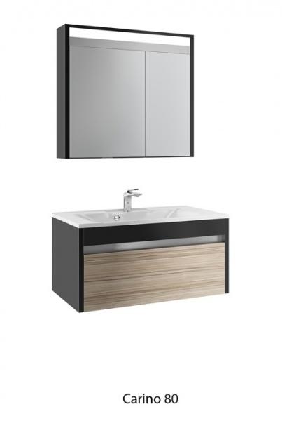 Carino 80 Черная с эбониМебель для ванной<br>Тумба под раковину Edelform Carino 80. Покрытие корпуса и фасадов: глянцевый лак. Дверцы и ящики со встроенными доводчиками.<br>