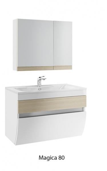 Magica 80 белая с дубомМебель для ванной<br>Тумба под раковину подвесная Edelform Magica 80. Внутренняя отделка декорированная под цвет фасада. Верхний выдвижной ящик Edelform с органайзером. Дверцы и ящики со встроенными доводчиками. Цена указана только за тумбу, раковина, зеркало и шкаф-пенал приобретаются отдельно.<br>