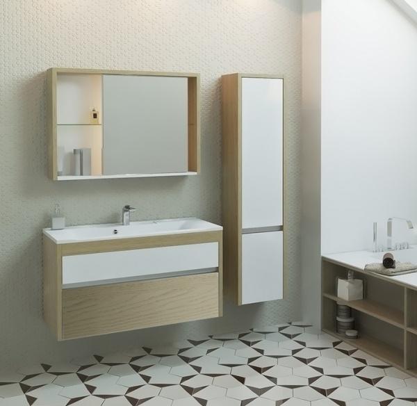 Unica 100 Белая с дуб гальяноМебель для ванной<br>Тумба под раковину подвесная Edelform Unica 100. Внутренняя отделка декорированная под цвет корпуса. Верхний выдвижной ящик Edelform с органайзером. Дверцы и ящики со встроенными доводчиками. Стоимость указана только за тумбу, раковина, зеркало и шкаф-пенал приобретаются отдельно.<br>