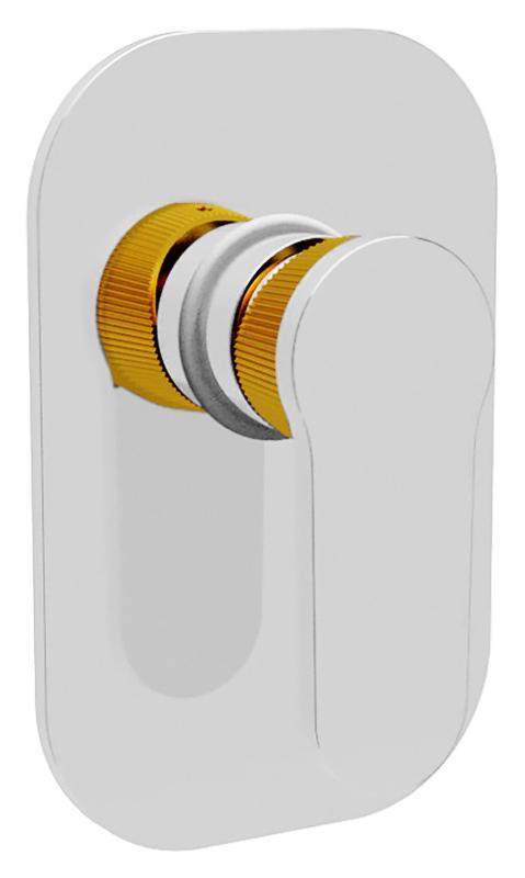 Diana DIANA-DIM-01.03/24 хром с золотомСмесители<br>Встраиваемый смеситель для душа Cezares Diana DIANA-DIM-01.03/24 однорычажный, изготовлен из качественной латуни. Металлическая рукоятка. Качественный керамический картридж Sedal, Испания. Стандарт подключения G1/2. В комплекте поставки: внешняя и внутренняя части смесителя и комплект крепления.<br>