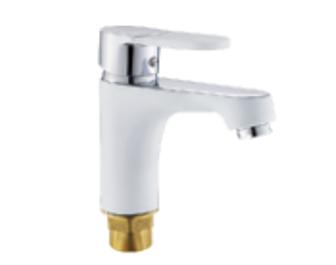 P10223-7 БелыйСмесители<br>Смеситель для раковины с коротким литым изливом P10223-7, крепление - гайка. Керамический картридж 35 мм. Ручка смесителя с силиконовой вставкой с поверхностью Soft-touch. Цвет белый.<br>