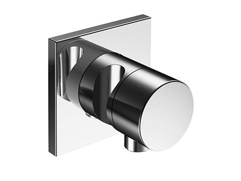 Ixmo 59557 010202 ХромСмесители<br>Внешняя часть запорного вентиля Keuco Ixmo 59557 010201. На 2 потребителя, со шланговым подключением и держателем. Наружный комплект состоит из: рукоятки, гильзы, розетки (круглой) и запорного вентиля переключателя, с обратным клапаном. В комплект поставки входит внешняя часть запорного вентиля.<br>