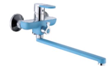P22223-12 ГолубойСмесители<br>Смеситель универсальный  Potato P22223-12 с поворотным плоским изливом 350 мм, с аксессуарами. Картридж керамический 35 мм. Ручка смесителя с силиконовой вставкой с поверхностью Soft-touch. Цвет голубой.<br>