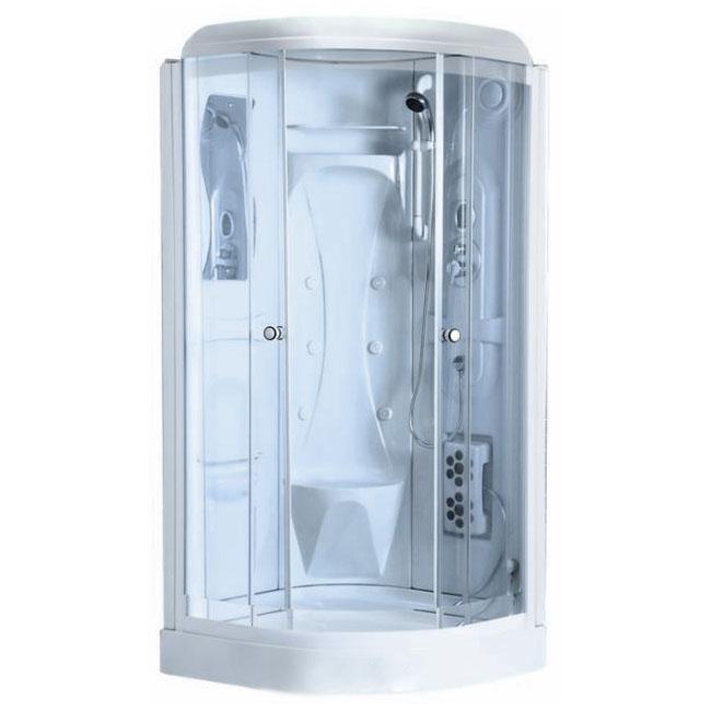Hit AQ-517AT Хром/стекло прозрачноеДушевые кабины<br>Душевая кабина Aqualux Hit AQ-517AT. Акриловый поддон 17 см, стекло прозрачное 5 мм, профиль - хром, раздвижные двери, крыша, верхний душ, вентиляция, верхняя подсветка, ручной душ - 1 режим, душевая штанга, смеситель - 4 режима, гидромассаж спины - 6 форсунок, гидромассаж ног - 14 форсунок, зеркало, встроенная полка, встроенное сиденье, задние стенки - белый акрил.<br>