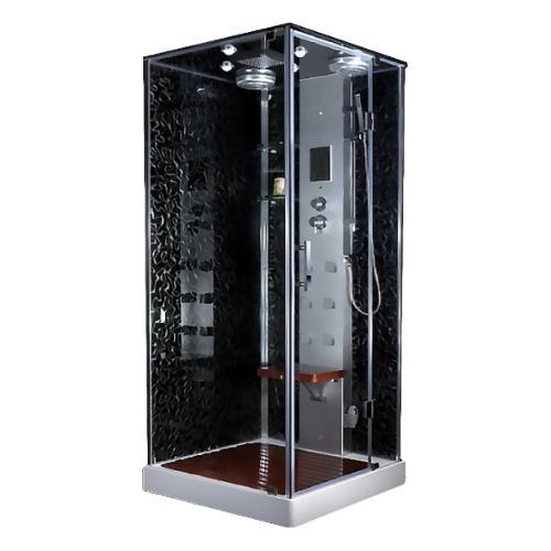 Delux AQ-617-GFS Хром/стекло прозрачноеДушевые кабины<br>Душевая гидромассажная кабина Aqualux  Delux AQ-617-GFS квадратная  с распашной дверью и низким поддоном. Толщина стекла 6 мм, верхний и ручной душ, 6 форсунок вентилятор, турецкая баня, радио, подсветка.<br>