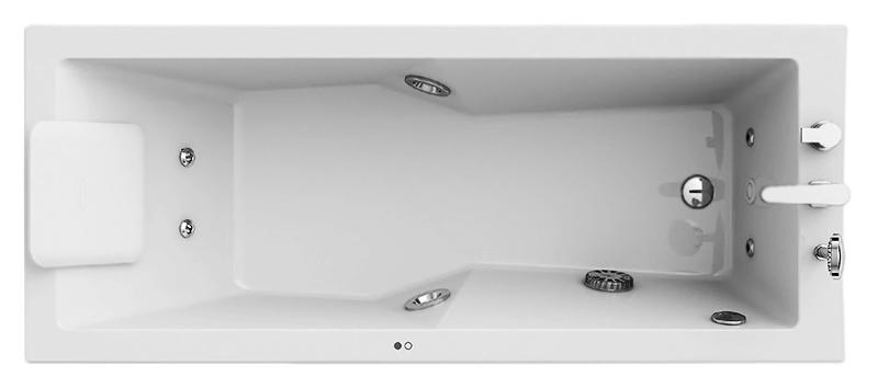 Energy 170x70 9F43-776A белая, Disi+Faro, с наклоном для спины слеваВанны<br>Акриловая ванна Jacuzzi Energy 170x70 9F43-776A SX с гидромассажем и белой подсветкой, с фурнитурой цвета хром. Гидромассаж с шестью форсунками, для спины, ног и ступней. Боковые форсунки поворачиваются на 30°. Сенсорная панель управления на борту ванны активируется легким касанием. Система санитарной обработки обеспечивает гигиену. Система защиты Dryrun не допускает работу пустой ванны. Компактный смеситель с ручным душем. В комплекте: чаша ванны с Г-образной панелью (фронтальная и боковая панель), гидромассаж, подсветка, смеситель и каркас.<br>