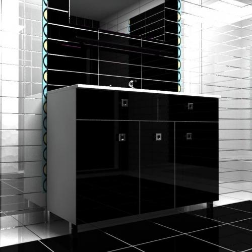 Ceramics 120 Multi 5 на ножках Категория 1Мебель для ванной<br>Мебель для ванной комнаты Harizma Ceramics 120 Multi 3. В стоимость входит тумба с раковиной. Раковина выполнена из сантехнической керамики, фасады - влагостойкий МДФ ламинированный пленкой ПВХ, фурнитура - tandembox Blum или Jet встроенной системой мягкого закрывания.<br>