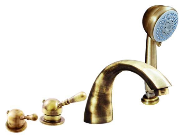 Labe L069.5PSM бронзовыйСмесители<br>Смеситель на борт ванны Rav Slezak Labe L069.5PSM монолитный, с душевым гарнитуром, изготовлен из высококачественной латуни, которая исключает какую-либо коррозию. Латунные рукоятки. Качественный керамический картридж 35 мм Kerox, производство Венгрия, гарантирует долговечность и мягкий поток воды. Керамический переключатель душ/излив. Металлический шланг с пружиной, которая обеспечивает лёгкое возвращение шланга в держатель. Длина шланга 2000 мм. Пластиковая душевая лейка с тремя режимами, с антикальк резиновыми насадками. Цена указана за смеситель, шланг, душевую лейку, гибкую подводку и комплект крепления. Все остальное приобретается дополнительно.<br>