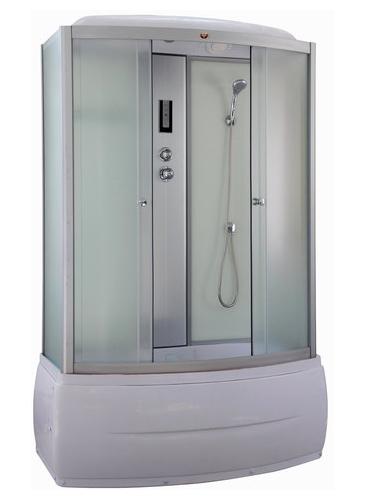 BN150 Задние стенки белыеДушевые боксы<br>Душевой бокс Parly BN150 с раздвижными дверьми, оборудованный системой ручного и тропического душа. Стекла закаленные, ударопрочные, матовые, толщиной 4-5 мм. Поддон высокий, АВС-пластик, в комплекте с сифоном. Передние стекла матовые. Задние стенки – стекло белого цвета. Профиль – алюминий матовый хром. В комплект входит: душевой бокс с крышей, центральная стойка (панель), сенсорный пульт Touch-Screen c радио, вентилятор, подсветка, полка, верхний душ, ручной душ, налив воды в поддон.<br>