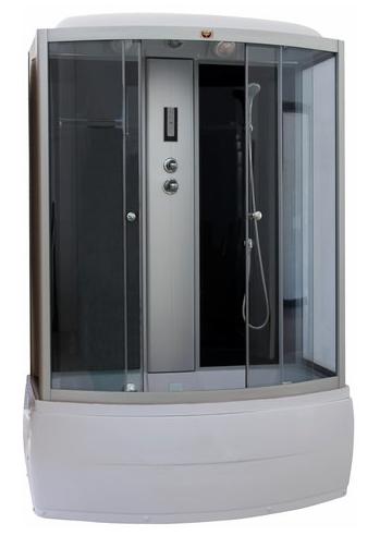CN170 Задние стенки черныеДушевые боксы<br>Душевой бокс Parly CN170 с раздвижными дверьми, оборудованный системой ручного и тропического душа. Стекла закаленные, ударопрочные, матовые, толщиной 4-5 мм. Поддон высокий, АВС-пластик, в комплекте с сифоном. Задние стенки – стекло черного цвета, передние стекла тонированные. Профиль – алюминий матовый хром. В комплект входит: душевой бокс с крышей, центральная стойка (панель), сенсорный пульт Touch-Screen c радио, вентилятор, подсветка, полка, верхний душ, ручной душ, налив воды в поддон.<br>