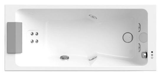 Sharp Top AQS 170x75 9Q43-945A белая, с наклоном для спины справаВанны<br>Акриловая ванна Jacuzzi Sharp Top AQS 170x75 9Q43-944A DX с гидромассажем, подсветкой, дезинфекцией, подголовником и смесителем. 4 гидромассажные форсунки TargetPro и спинной гидромассаж с вращающимися 6-ю микрофорсунками. Система санитарной обработки обеспечивает гигиену. Подсветка Cromodream. Эргономичный подголовник из Technogel. В комплекте: чаша ванны с белой Г-образной панелью (фронтальная и боковая панель), гидромассаж, подсветка, дезинфекция, смеситель, каркас и подголовник.<br>