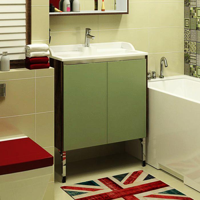 Фабиа 65 М Фисташка/дуб инкантоМебель для ванной<br>Тумба под раковину Акватон Фабиа 65 1A159601FBAC0.<br>Оригинальный классический дизайн, вдохновленный древнеримским городом, добавит ванной комнате штрих неповторимой элегантности.<br>Материал каркаса и фасада: МДФ. <br>Внутренняя отделка: текстурированная ДСП.<br>Гладкая глянцевая поверхность.<br>Благодаря влагостойкой поверхности тумба долго служит в помещениях с повышенной влажностью.<br>Монтаж: на ножках.<br>Цвет: фисташка/дуб инканто.<br>С двумя навесами.<br>С одним внутренним ящиком и одной полкой.<br>Открытие дверцы при помощи профиля, обеспечивающего дополнительную жесткость..<br>Объем поставки: тумба.<br>