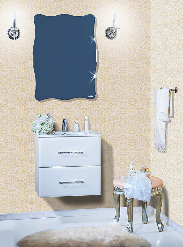 Диана 60 белая глянцевая, со стразамиМебель для ванной<br>Подвесная тумба под раковину Бриклаер Диана 60 с двумя выдвижными ящиками. Блеск белого глянца оттенен стразами на ручках. Корпус выполнен из ЛДСП белый глянец, а фасад – из МДФ с по краям, с трехслойным покрытием белой глянцевой эмалью с перламутром. Тумба проявляет устойчивость к влажному воздуху и длительное время сохраняет свой первоначальный внешний вид.<br>