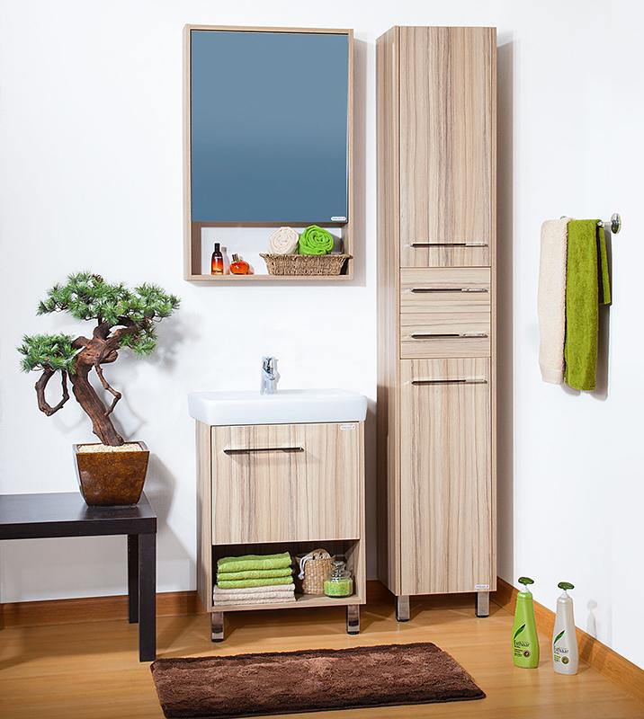 Ницца 55 ясень наварроМебель для ванной<br>Тумба под раковину Бриклаер Ницца 55 на ножках, с одной распашной дверцей сверху и отрытой нишей снизу, выполнена в эко-стиле. Корпус и фасад выполнены из ЛДСП в светло-бежевом декоре с розовым отливом. Тумба проявляет устойчивость к влажному воздуху и длительное время сохраняет свой первоначальный внешний вид.<br>