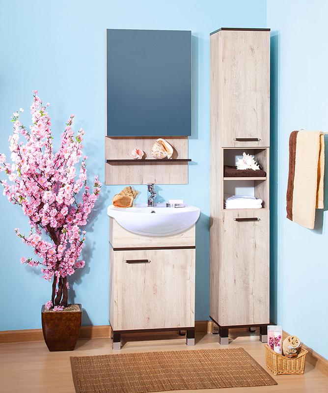 Карибы 50 гасиендаМебель для ванной<br>Тумба под раковину Бриклаер Карибы 50 на ножках, с одной распашной дверцей и одной полкой за ней. Корпус и фасад выполнены из ЛДСП в светлом древесном декоре с перламутром, с высокоглянцевой кромкой. Тумба предназначена для использования во влажных помещениях и рассчитана на воздействие с влажным воздухом, но для того, чтобы она служила долго, необходимо исключить прямой залив водой любых её частей, кроме раковины. Цена указана за тумбу. Раковина и все остальное приобретается дополнительно.<br>