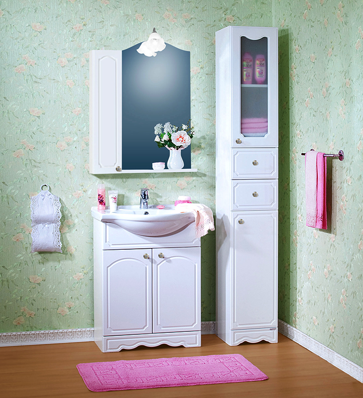 Лючия 70 белая глянцеваяМебель для ванной<br>Тумба под раковину Бриклаер Лючия 70 с двумя распашными дверцами и одной полкой, легкая и светлая, с рельефным фасадом, изящной фрезеровкой и классическими ручками. Корпус выполнен из ЛДСП, а фасад – из МДФ, покрытым пленкой ПВХ, с фрезеровкой. Тумба проявляет устойчивость к влажному воздуху и длительное время сохраняет свой первоначальный внешний вид.<br>