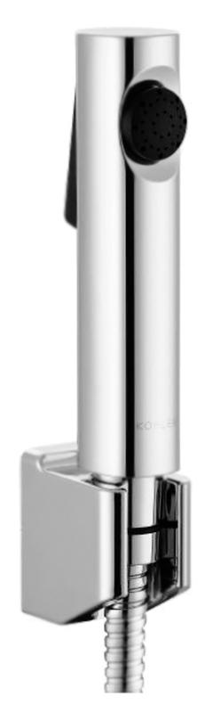 Cuff E98100-CP хромГигиенические души<br>Гигиенический душ Jacob Delafon Cuff E98100-CP хромированный, с защитой от коррозии. Душевая лейка с антиизвестковым покрытием и эргономичной, антискользящей кнопкой. Настенный, фиксированный держатель для лейки, для установки на различные варианты стен. Прочный, металлический душевой шланг длиной 1200 мм. Расход воды 5 литров в минуту при давлении 3 бар. Стандарт подключения G1/2. В  комплекте душевая лейка, настенный держатель для лейки, шланг и комплект крепления.<br>