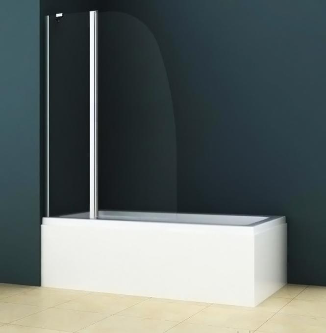 Шторка на ванну Azario AZ-142BS 100x140 профиль хром, стекло прозрачное