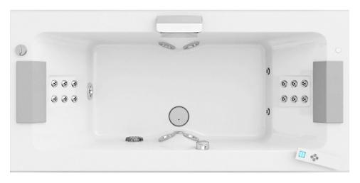 Sharp Double Top AQS 190x90 белаяВанны<br>Акриловая ванна Jacuzzi Sharp Double Top AQS 190x90 9Q43-951A, с наклоном для спины с двух сторон, с двумя подголовниками, с гидромассажем, подсветкой и дезинфекцией. 5 гидромассажных форсунок TargetPro и спинной гидромассаж с вращающимися 14-ю микрофорсунками. Система санитарной обработки обеспечивает гигиену. Подсветка Cromodream. Пульт дистанционного управления. Эргономичные подголовники из Technogel. В комплекте: чаша ванны с белой Г-образной панелью (фронтальная и боковая панель), гидромассаж, подсветка, дезинфекция, каркас и 2 подголовника.<br>