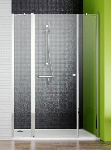 Eos II DWJS 130x195 профиль хром, стекло прозрачное, крепления справаДушевые ограждения<br>Душевая дверь в нишу Radaway Eos II DWJS 130 3799455-01R.<br>  Способ монтажа: Установка непосредственно на пол или на поддон.<br>Возможна установка без планки порога .<br>Одна распашная дверь открывается наружу и внутрь.<br>Два неподвижных стекла между створками двери и стеной.<br>Подъемно-опускной механизм и система позиционирования двери.<br>Закаленное безопасное стекло толщиной 6 мм.<br>Защитное покрытие стекла Easy Clean обеспечивает простоту в уходе.<br> <br>Пристенный профиль с регулировкой +/- 10 мм.<br>